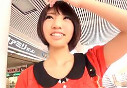 【素人】千葉の柏でGETした可愛すぎるショートカット女子大生に中出し!